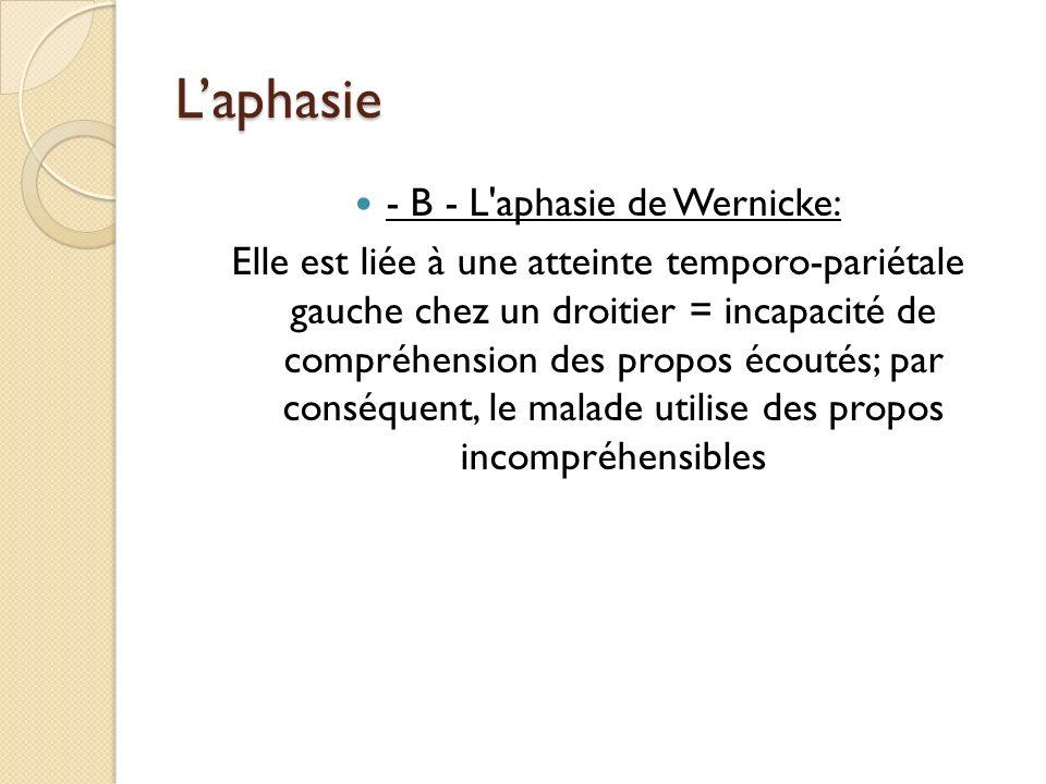 Laphasie - B - L'aphasie de Wernicke: Elle est liée à une atteinte temporo-pariétale gauche chez un droitier = incapacité de compréhension des propos