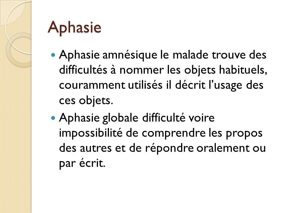 Aphasie Aphasie amnésique le malade trouve des difficultés à nommer les objets habituels, couramment utilisés il décrit lusage des ces objets. Aphasie