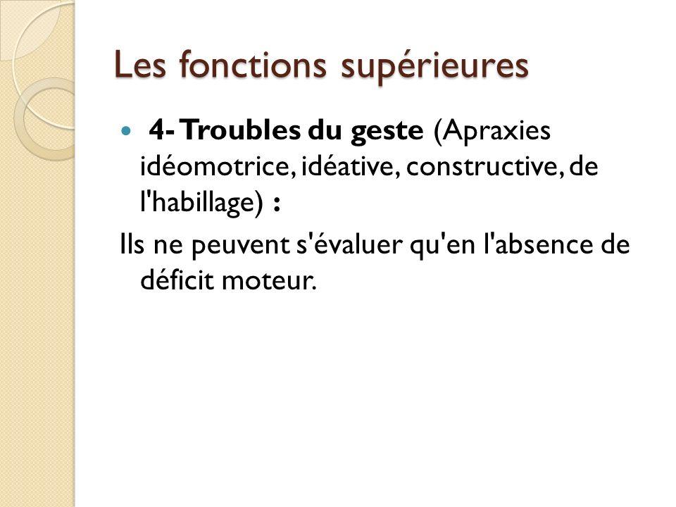 Les fonctions supérieures 4- Troubles du geste (Apraxies idéomotrice, idéative, constructive, de l'habillage) : Ils ne peuvent s'évaluer qu'en l'absen