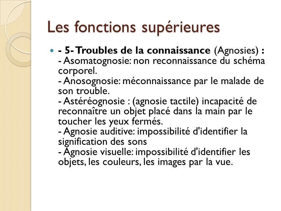 Les fonctions supérieures - 5- Troubles de la connaissance (Agnosies) : - Asomatognosie: non reconnaissance du schéma corporel. - Anosognosie: méconna