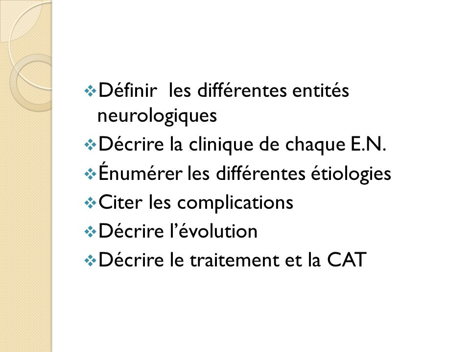 Définir les différentes entités neurologiques Décrire la clinique de chaque E.N. Énumérer les différentes étiologies Citer les complications Décrire l