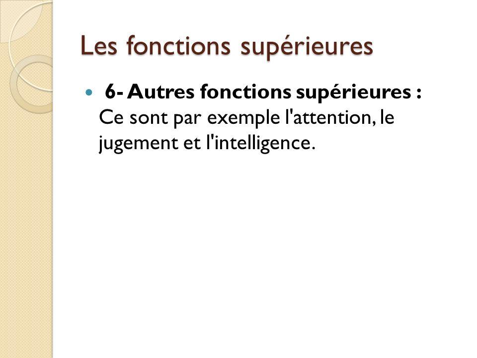 Les fonctions supérieures 6- Autres fonctions supérieures : Ce sont par exemple l'attention, le jugement et l'intelligence.