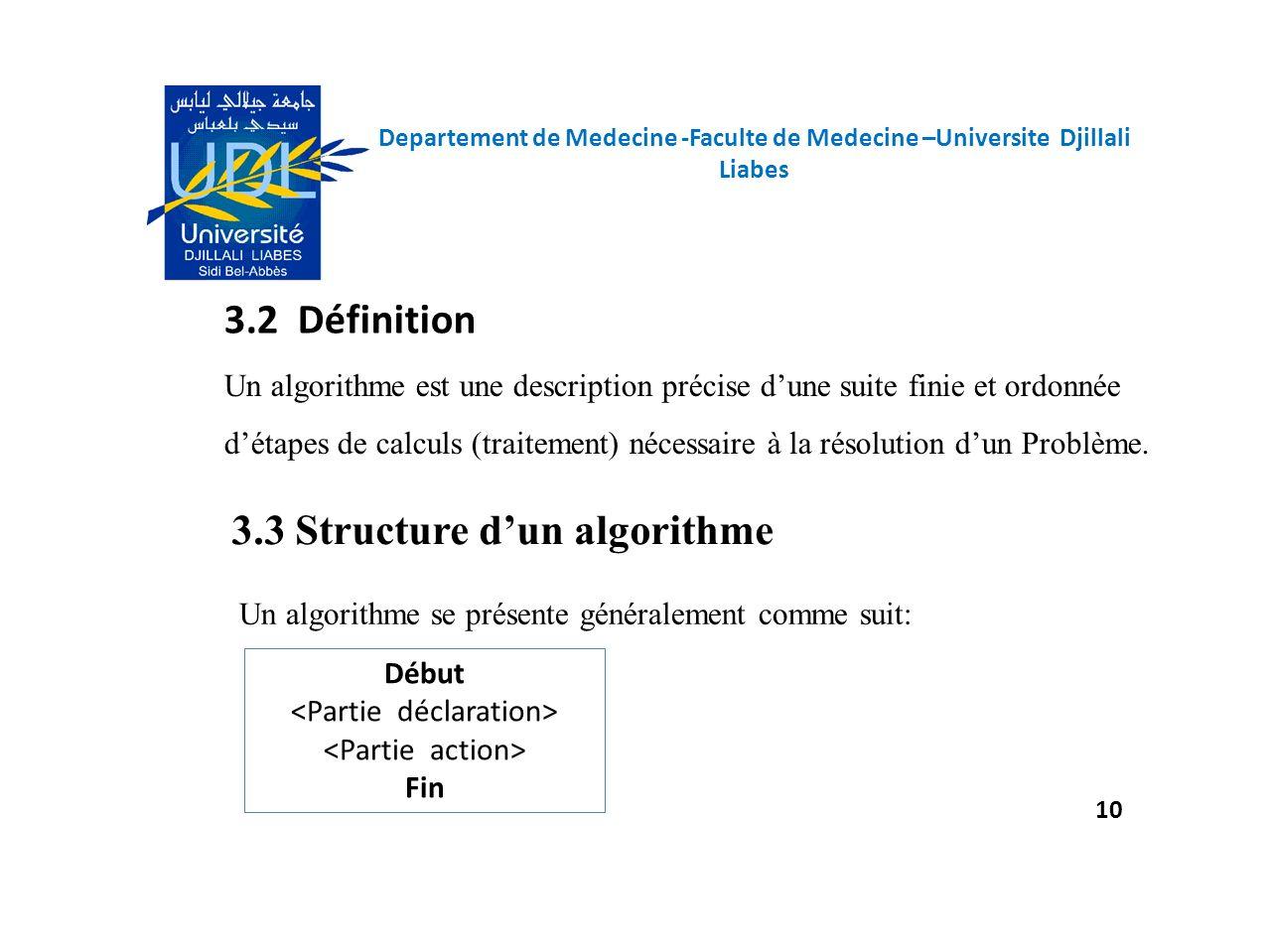 Un algorithme se présente généralement comme suit: 3.2 Définition 3.3 Structure dun algorithme Un algorithme est une description précise dune suite fi