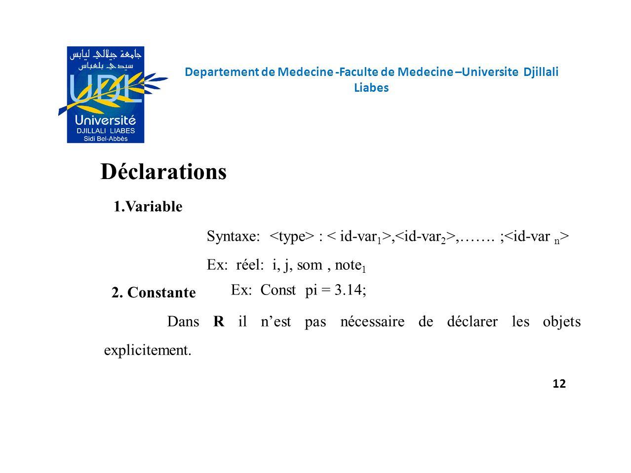Déclarations 1.Variable Syntaxe: :,,……. ; Ex: réel: i, j, som, note 1 Dans R il nest pas nécessaire de déclarer les objets explicitement. 2. Constante