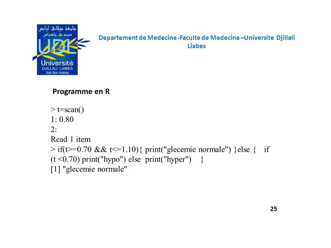Programme en R 25 Departement de Medecine -Faculte de Medecine –Universite Djillali Liabes > t=scan() 1: 0.80 2: Read 1 item > if(t>=0.70 && t<=1.10){