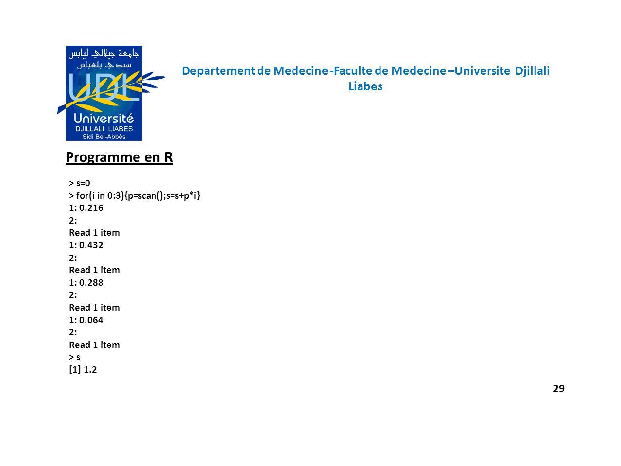 Departement de Medecine -Faculte de Medecine –Universite Djillali Liabes 29 Programme en R > s=0 > for(i in 0:3){p=scan();s=s+p*i} 1: 0.216 2: Read 1