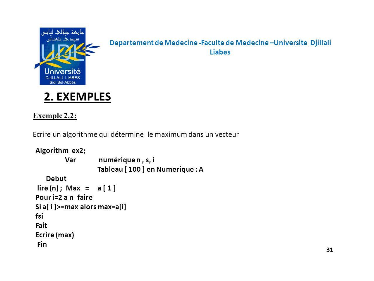 Departement de Medecine -Faculte de Medecine –Universite Djillali Liabes 31 2. EXEMPLES Exemple 2.2: Ecrire un algorithme qui détermine le maximum dan