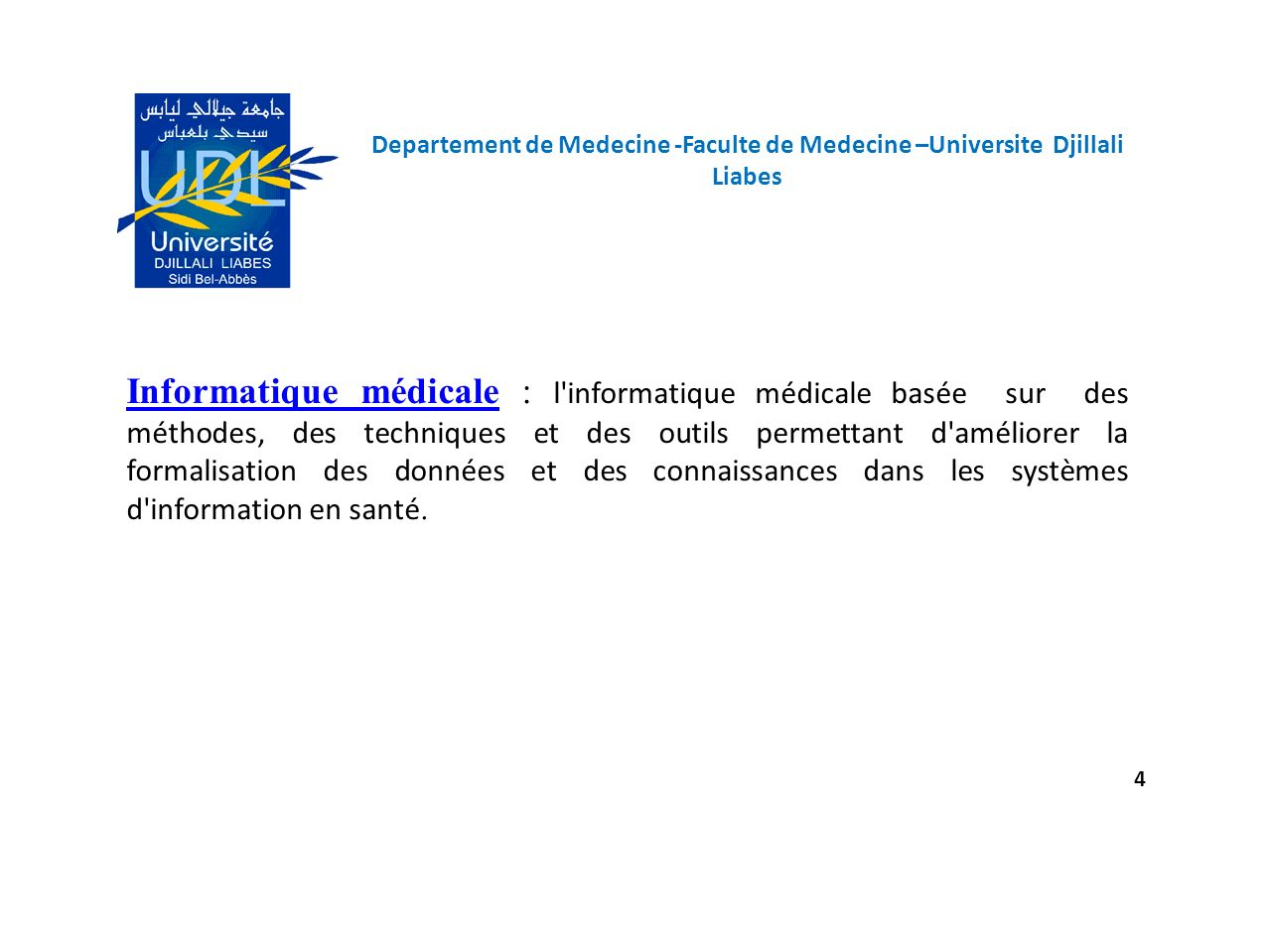 Programme en R 25 Departement de Medecine -Faculte de Medecine –Universite Djillali Liabes > t=scan() 1: 0.80 2: Read 1 item > if(t>=0.70 && t<=1.10){ print( glecemie normale ) }else { if (t <0.70) print( hypo ) else print( hyper ) } [1] glecemie normale