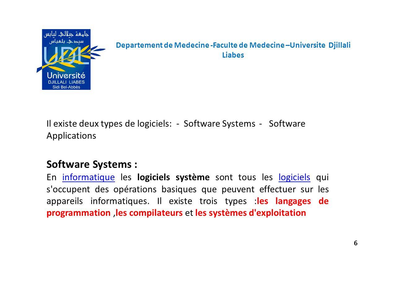Departement de Medecine -Faculte de Medecine –Universite Djillali Liabes 6 Il existe deux types de logiciels: - Software Systems - Software Applicatio