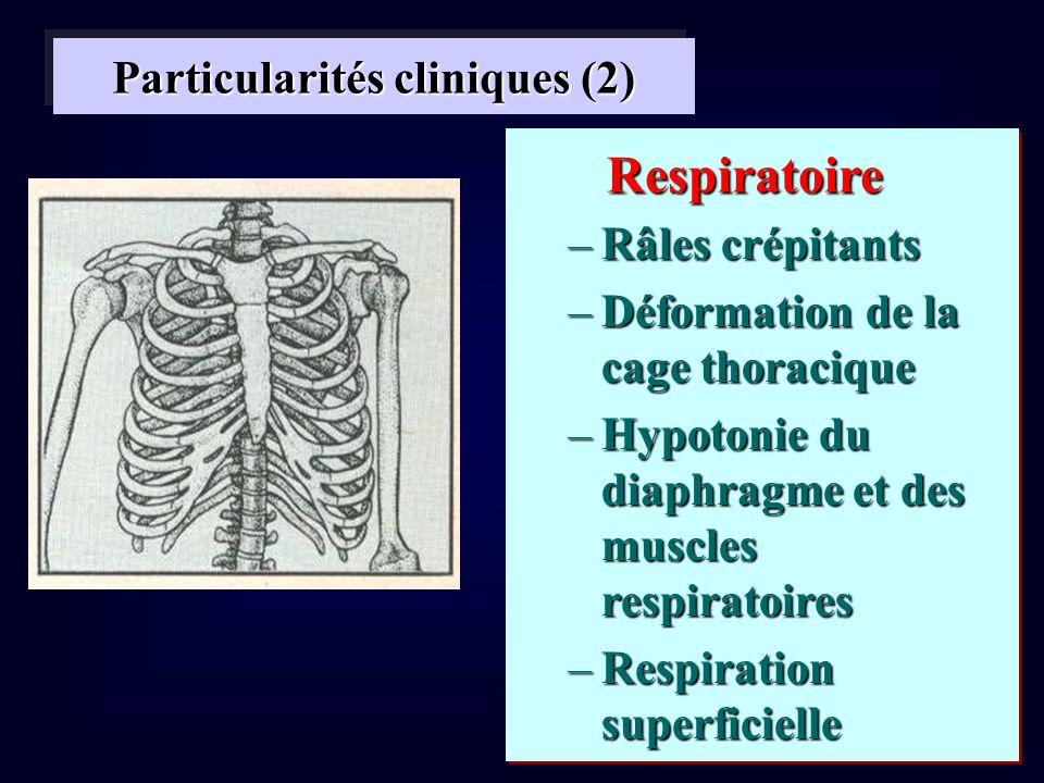 Particularités cliniques (2) –Râles crépitants –Déformation de la cage thoracique –Hypotonie du diaphragme et des muscles respiratoires –Respiration s