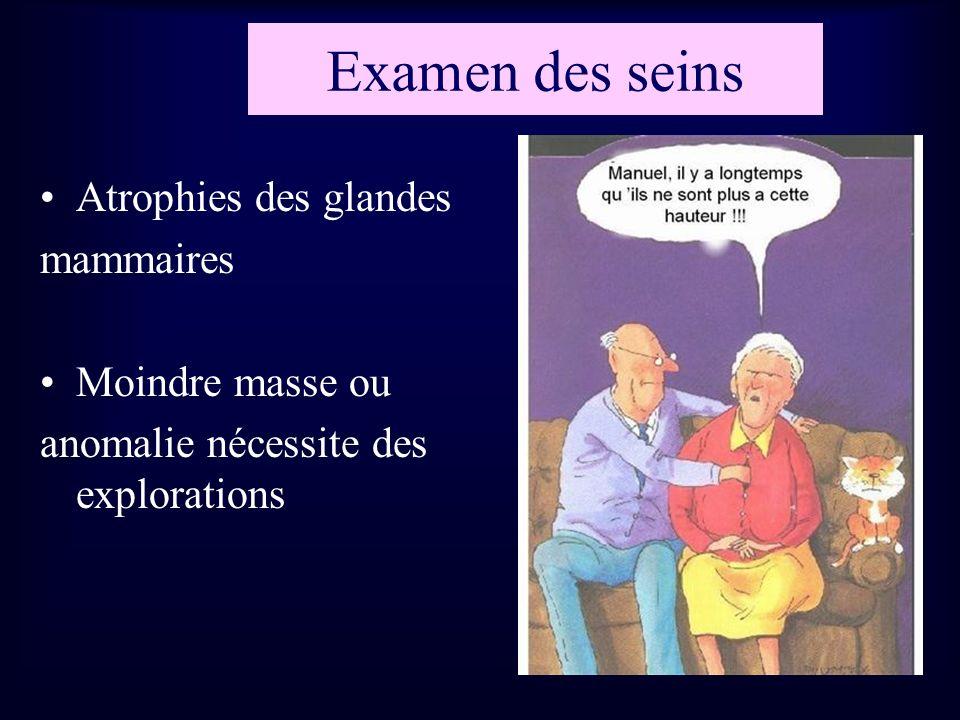 Examen des seins Atrophies des glandes mammaires Moindre masse ou anomalie nécessite des explorations
