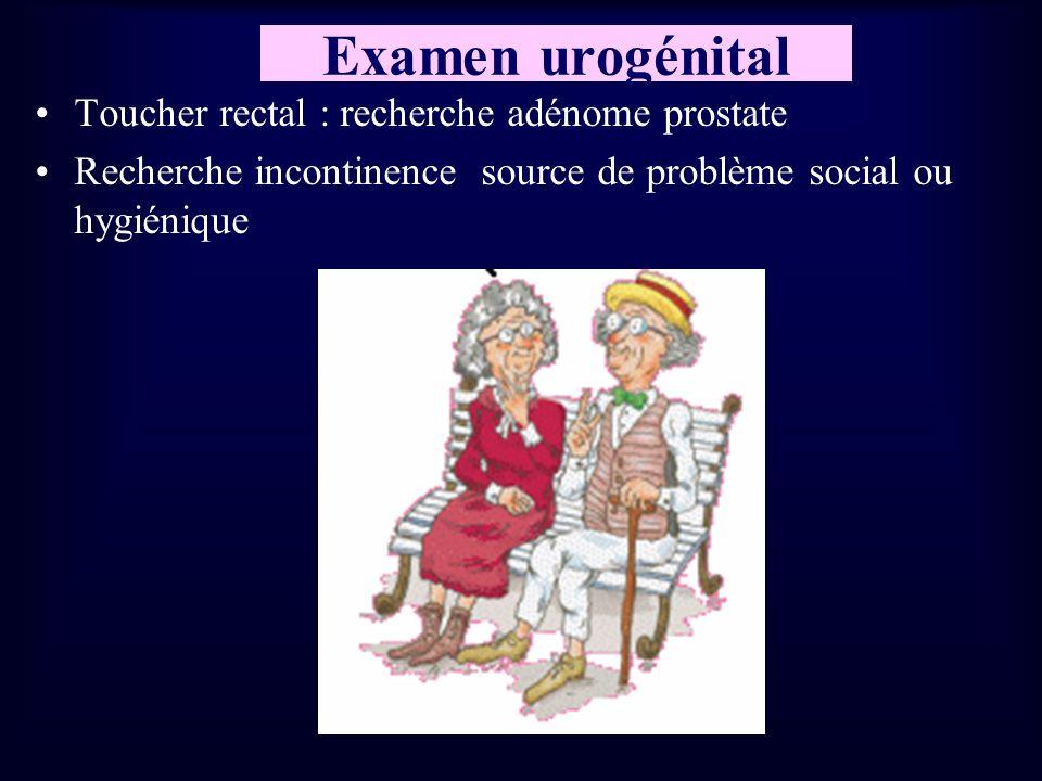 Examen urogénital Toucher rectal : recherche adénome prostate Recherche incontinence source de problème social ou hygiénique