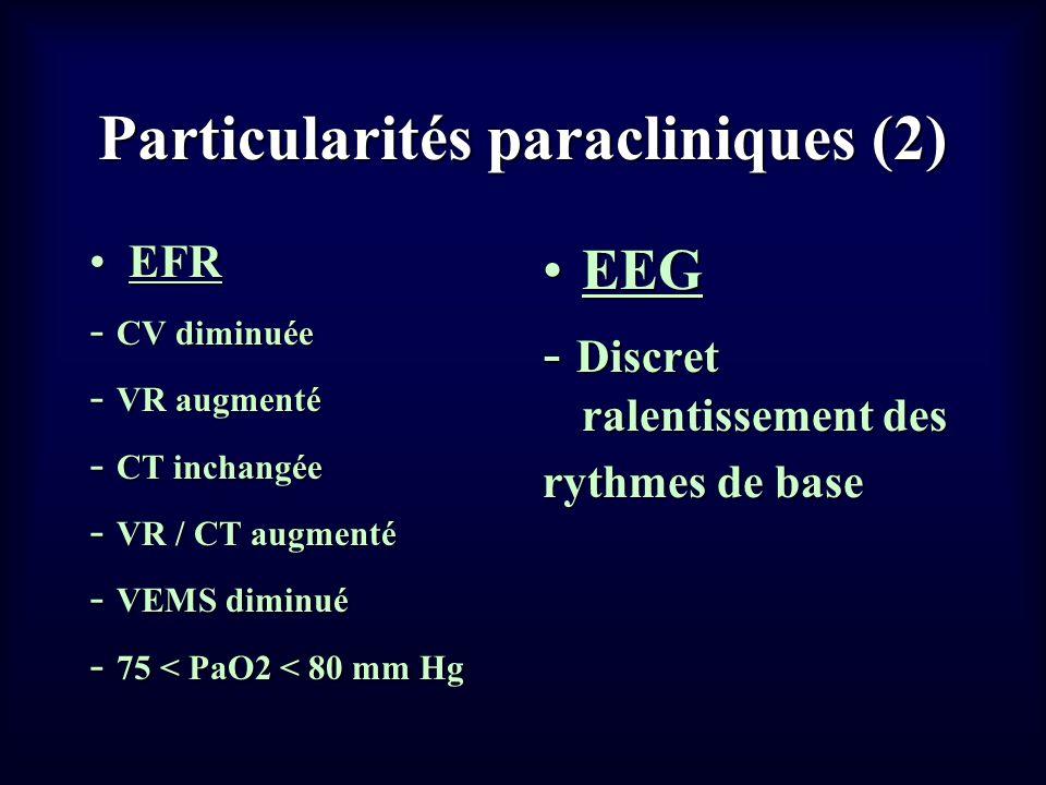 Particularités paracliniques (2) EFREFR - CV diminuée - VR augmenté - CT inchangée - VR / CT augmenté - VEMS diminué - 75 < PaO2 < 80 mm Hg EEGEEG - D