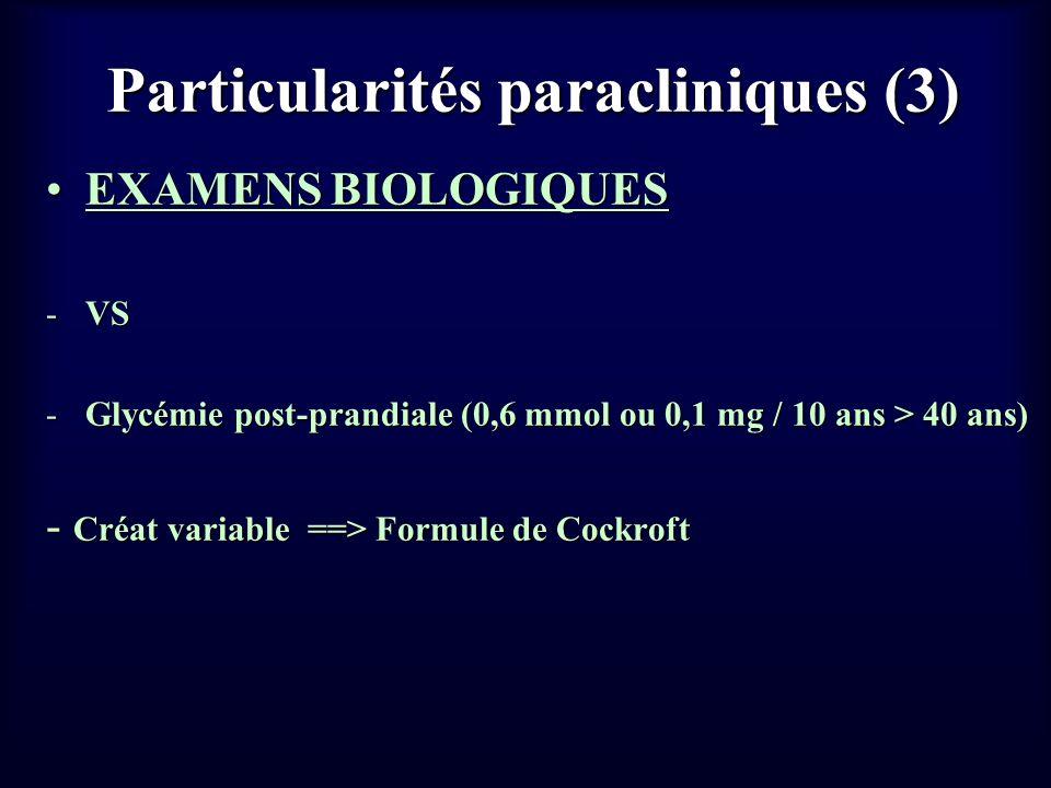 Particularités paracliniques (3) EXAMENS BIOLOGIQUESEXAMENS BIOLOGIQUES -VS -Glycémie post-prandiale (0,6 mmol ou 0,1 mg / 10 ans > 40 ans) - Créat va
