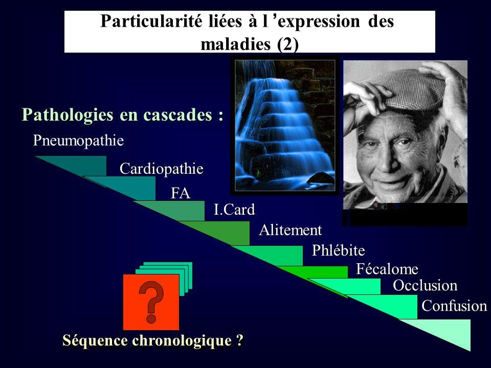 Pathologies en cascades : Cardiopathie FA I.Card Alitement Phlébite Fécalome Occlusion Confusion Séquence chronologique ? Particularité liées à l expr