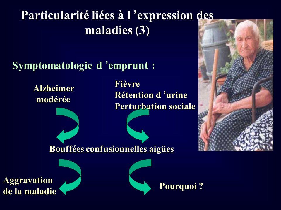 Particularité liées à l expression des maladies (3) Symptomatologie d emprunt : Alzheimer Alzheimer modérée modérée Bouffées confusionnelles aigües Fi