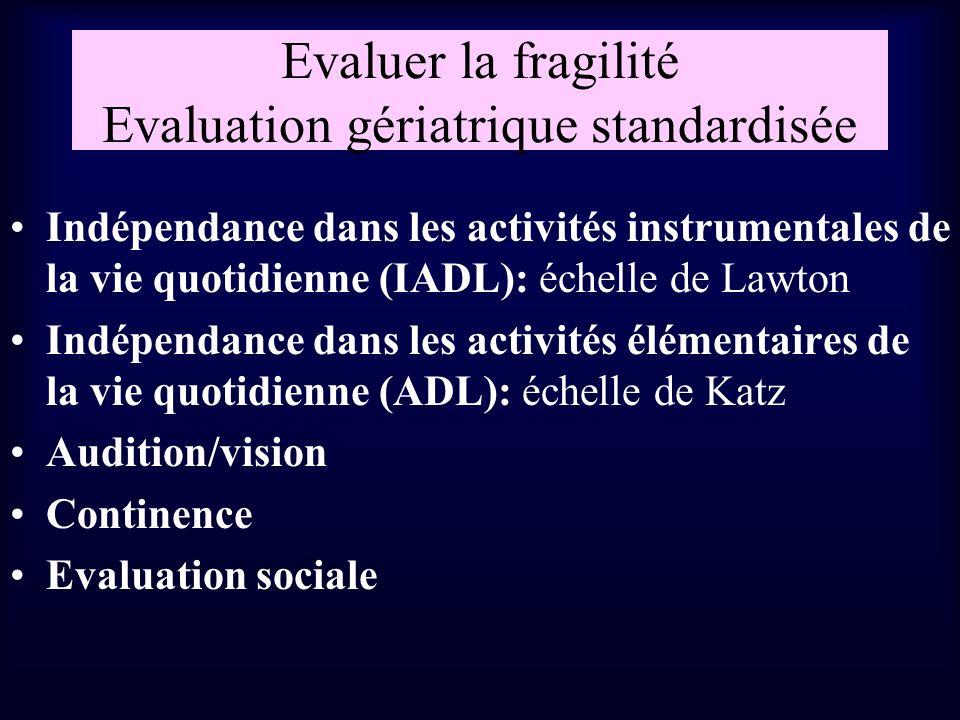 Evaluer la fragilité Evaluation gériatrique standardisée Indépendance dans les activités instrumentales de la vie quotidienne (IADL): échelle de Lawto