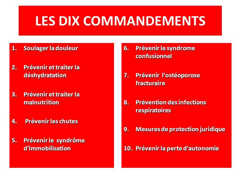 LES DIX COMMANDEMENTS 1.Soulager la douleur 2.Prévenir et traiter la déshydratation 3.Prévenir et traiter la malnutrition 4. Prévenir les chutes 5.Pré