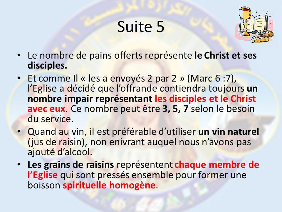 Suite 5 Le nombre de pains offerts représente le Christ et ses disciples. Et comme Il « les a envoyés 2 par 2 » (Marc 6 :7), lEglise a décidé que loff