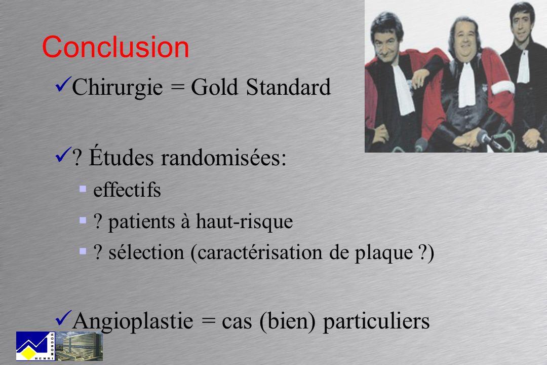 Conclusion Chirurgie = Gold Standard ? Études randomisées: effectifs ? patients à haut-risque ? sélection (caractérisation de plaque ?) Angioplastie =