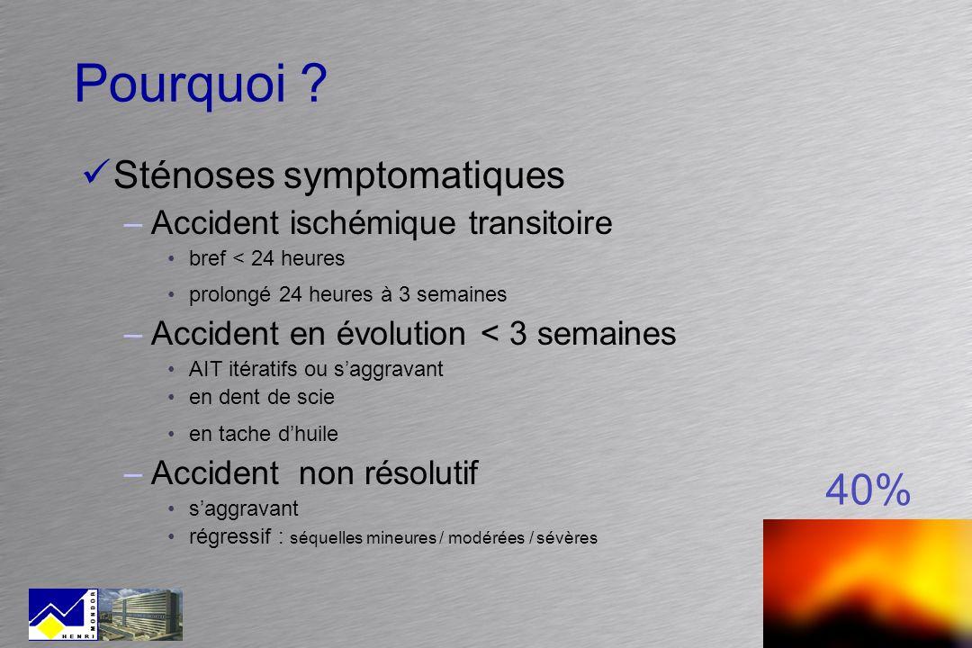 Pourquoi ? Sténoses symptomatiques –Accident ischémique transitoire bref < 24 heures prolongé 24 heures à 3 semaines –Accident en évolution < 3 semain