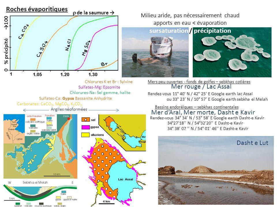 Roches évaporitiques Mer rouge / Lac Assal Mer dAral, Mer morte, Dasht e Kavir Rendez-vous 11° 40 N / 42° 25 E Google earth lac Assal ou 33° 23 N / 10
