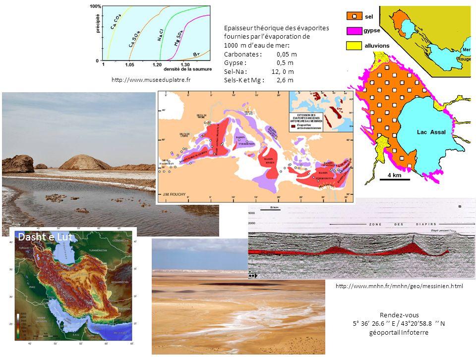 Epaisseur théorique des évaporites fournies par lévaporation de 1000 m deau de mer: Carbonates : 0,05 m Gypse : 0,5 m Sel-Na : 12, 0 m Sels-K et Mg :