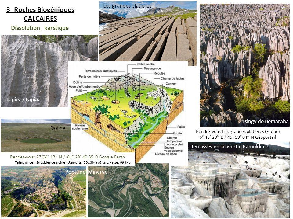 3- Roches Biogéniques CALCAIRES Tsingy de Bemaraha Rendez-vous Les grandes platières (Flaine) 6° 43 20 E / 45° 59 04 N Géoportail Terrasses en Travert