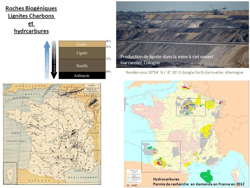 Roches Biogéniques Lignites Charbons et hydrcarbures Production de lignite dans la mine à ciel ouvert Garzweiler, Cologne Rendez-vous 50°54 N / 6° 30