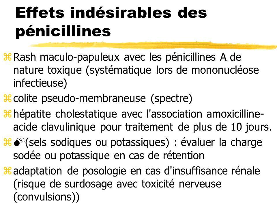 Effets indésirables des pénicillines zRash maculo-papuleux avec les pénicillines A de nature toxique (systématique lors de mononucléose infectieuse) zcolite pseudo-membraneuse (spectre) zhépatite cholestatique avec l association amoxicilline- acide clavulinique pour traitement de plus de 10 jours.