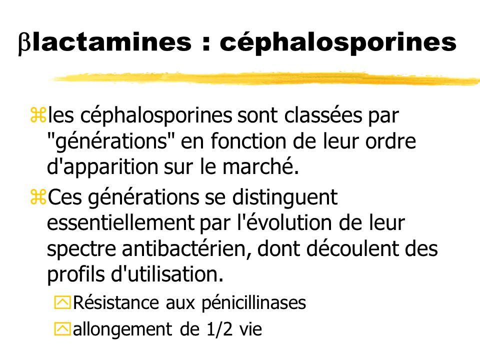 lactamines : céphalosporines zles céphalosporines sont classées par générations en fonction de leur ordre d apparition sur le marché.