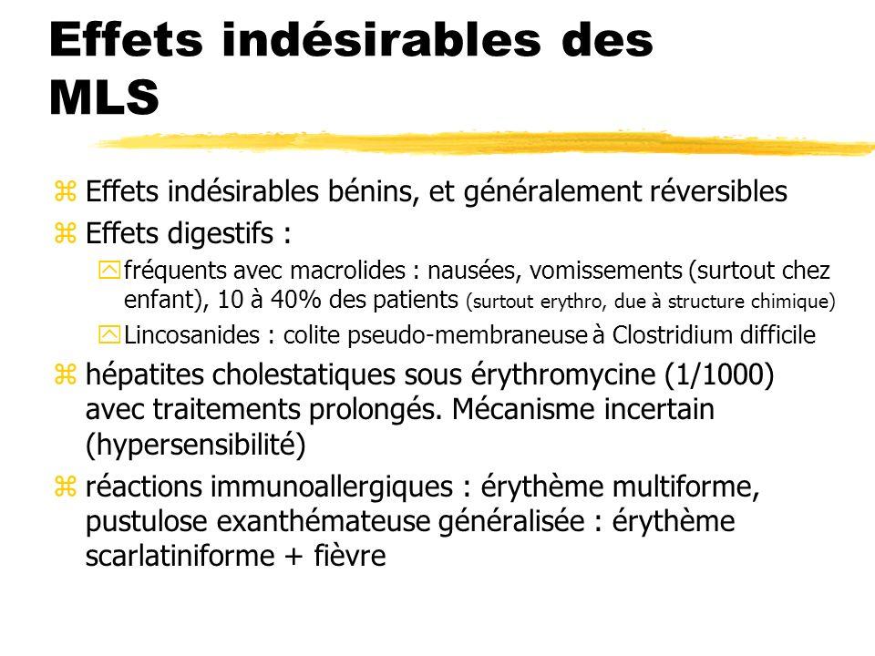 Effets indésirables des MLS zEffets indésirables bénins, et généralement réversibles zEffets digestifs : yfréquents avec macrolides : nausées, vomisse