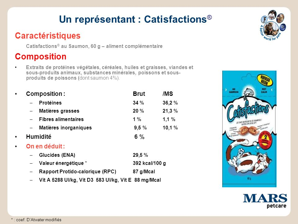 Un représentant : Catisfactions ® Caractéristiques Catisfactions ® au Saumon, 60 g – aliment complémentaire Composition Extraits de protéines végétale