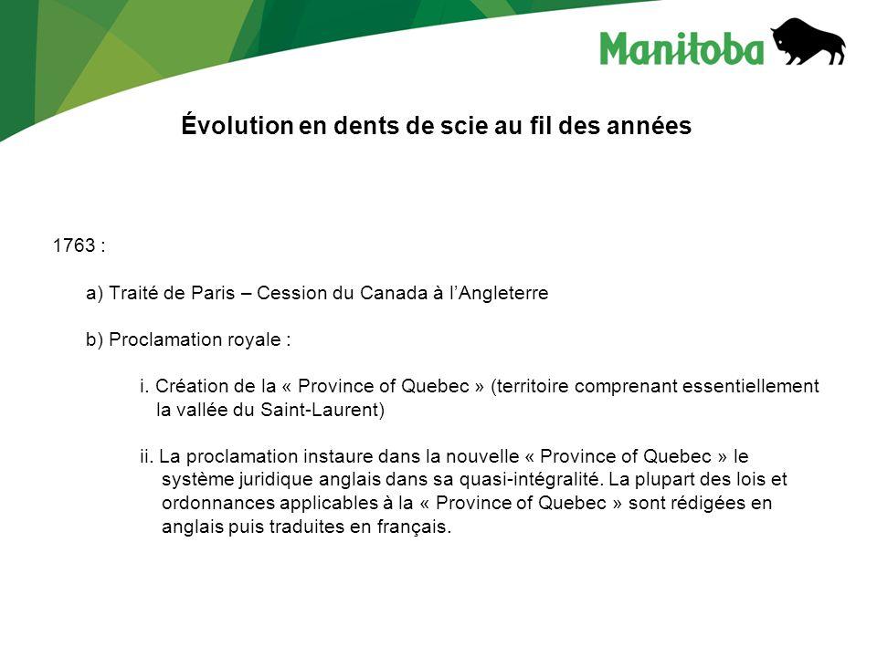 Évolution en dents de scie au fil des années 1763 : a) Traité de Paris – Cession du Canada à lAngleterre b) Proclamation royale : i. Création de la «