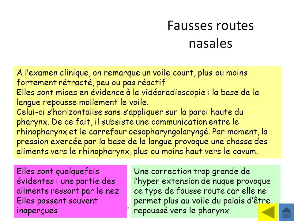 Institut Motricité Cérébrale Philippe Toullet Elles sont quelquefois évidentes : une partie des aliments ressort par le nez Elles passent souvent inap