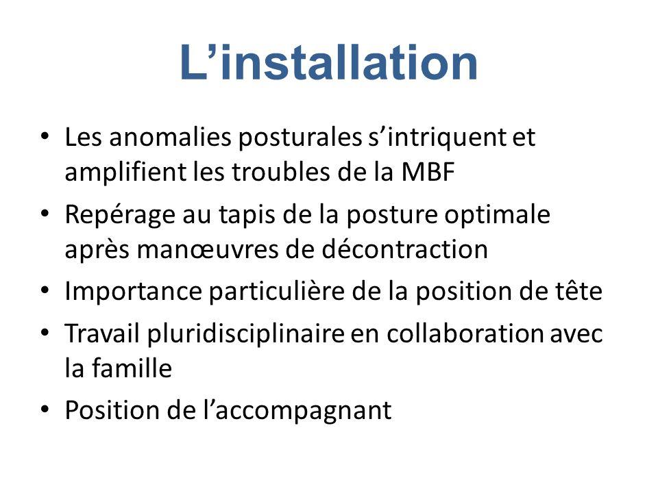 Linstallation Les anomalies posturales sintriquent et amplifient les troubles de la MBF Repérage au tapis de la posture optimale après manœuvres de dé