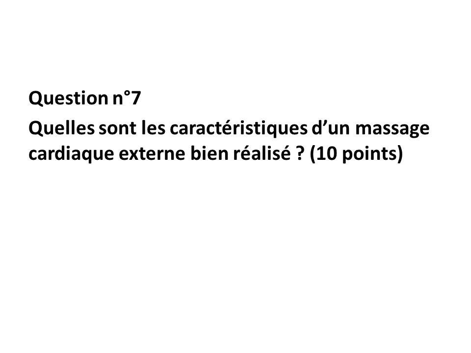 Question n°7 Quelles sont les caractéristiques dun massage cardiaque externe bien réalisé ? (10 points)