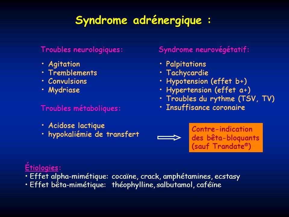 Syndrome adrénergique : Troubles neurologiques: Agitation Tremblements Convulsions Mydriase Syndrome neurovégétatif: Palpitations Tachycardie Hypotens