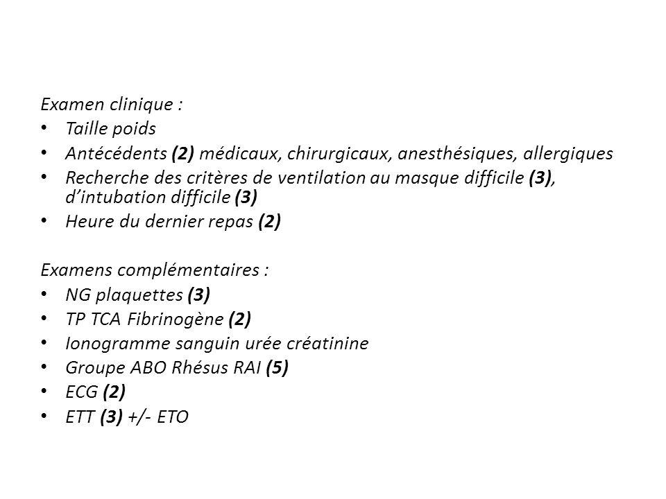 Examen clinique : Taille poids Antécédents (2) médicaux, chirurgicaux, anesthésiques, allergiques Recherche des critères de ventilation au masque diff