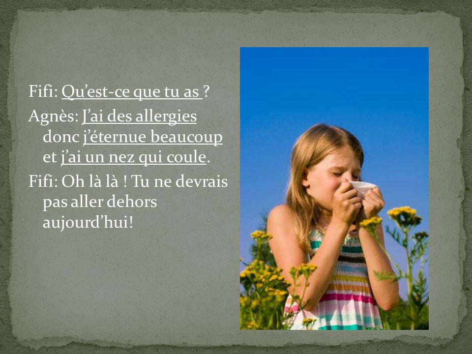 Fifi: Quest-ce que tu as ? Agnès: Jai des allergies donc jéternue beaucoup et jai un nez qui coule. Fifi: Oh là là ! Tu ne devrais pas aller dehors au