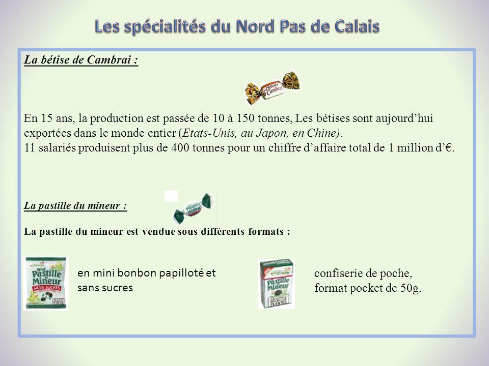 La bétise de Cambrai : En 15 ans, la production est passée de 10 à 150 tonnes, Les bétises sont aujourdhui exportées dans le monde entier (Etats-Unis,