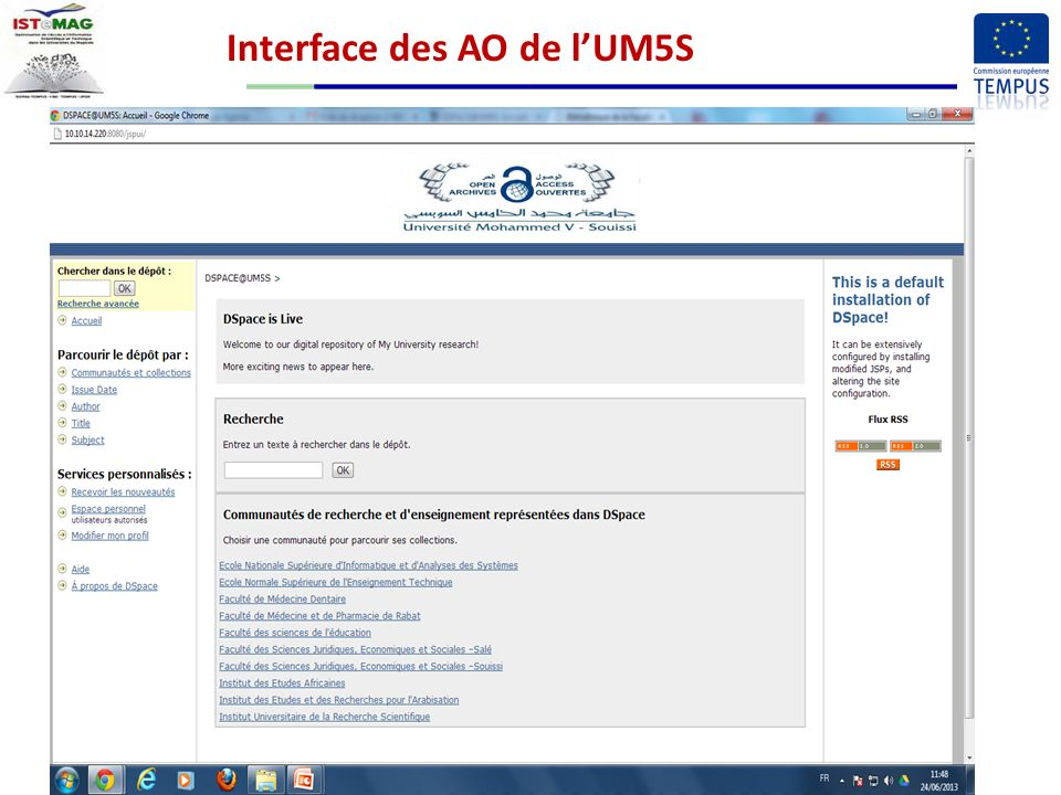 Interface des AO de lUM5S