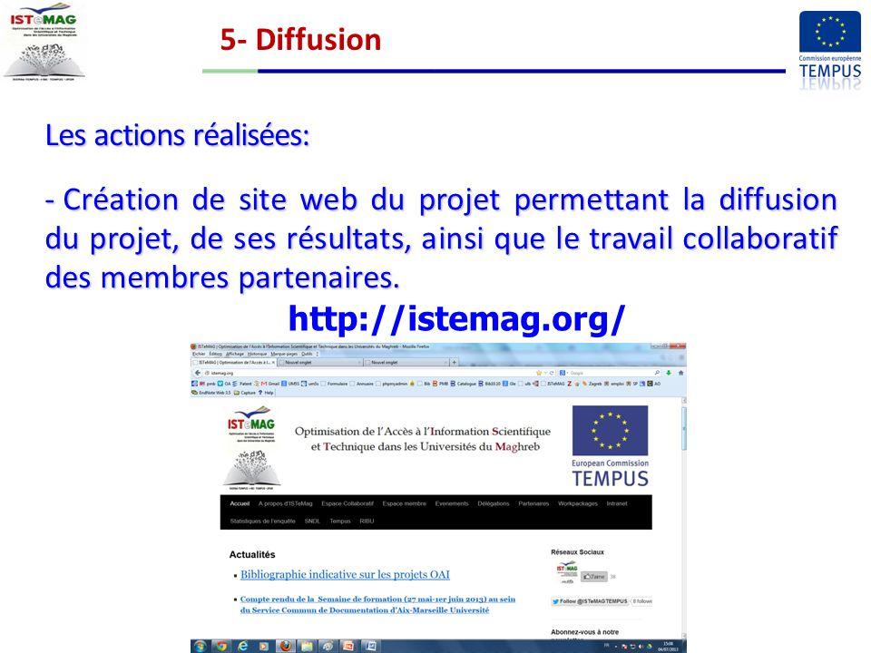 5- Diffusion Les actions réalisées: - Création de site web du projet permettant la diffusion du projet, de ses résultats, ainsi que le travail collaboratif des membres partenaires.
