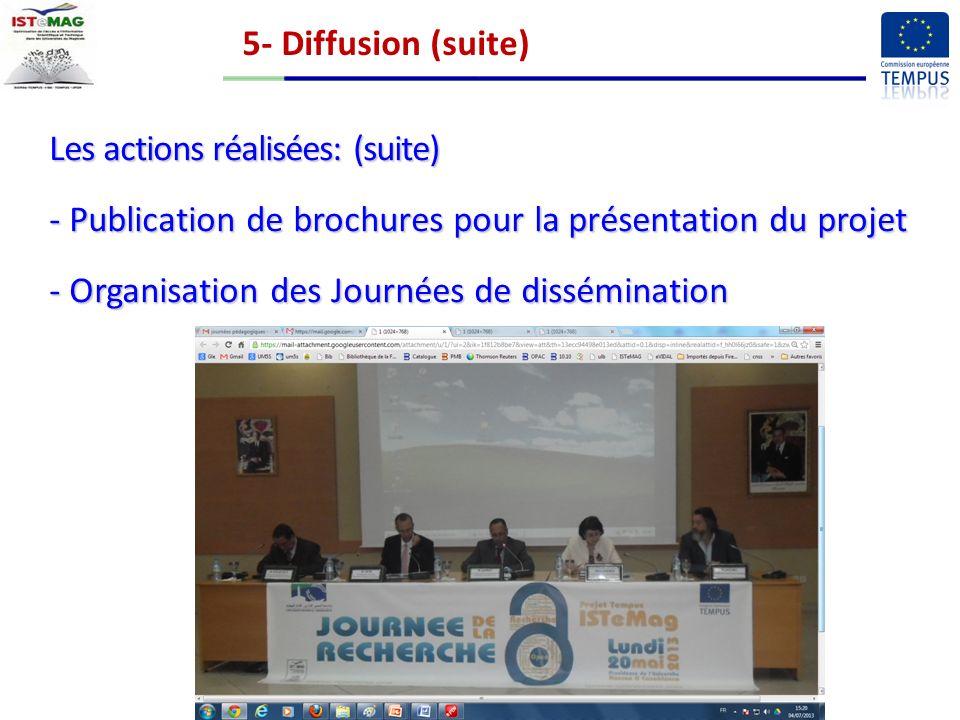 5- Diffusion (suite) Les actions réalisées: (suite) - Publication de brochures pour la présentation du projet - Organisation des Journées de dissémination