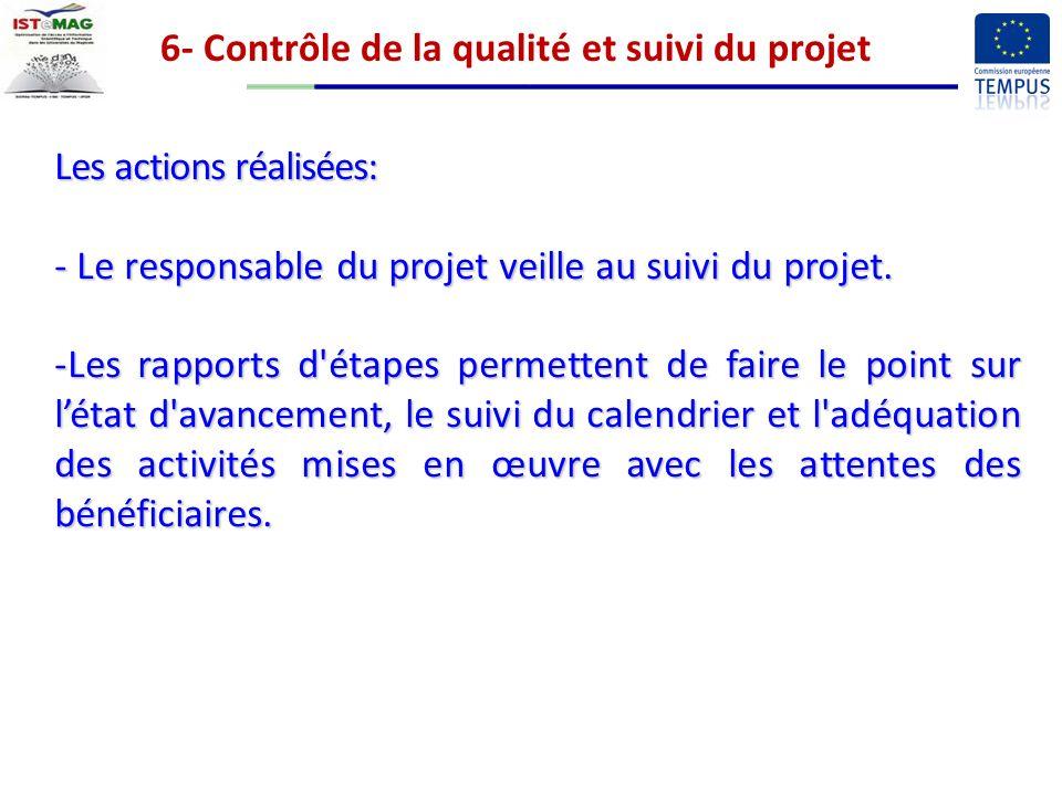 6- Contrôle de la qualité et suivi du projet Les actions réalisées: - Le responsable du projet veille au suivi du projet.