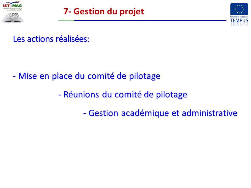 7- Gestion du projet Les actions réalisées: - Mise en place du comité de pilotage - Réunions du comité de pilotage - Gestion académique et administrative