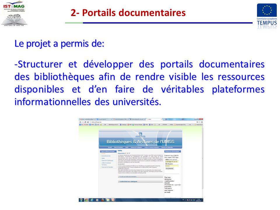2- Portails documentaires Le projet a permis de: -Structurer et développer des portails documentaires des bibliothèques afin de rendre visible les ressources disponibles et den faire de véritables plateformes informationnelles des universités.