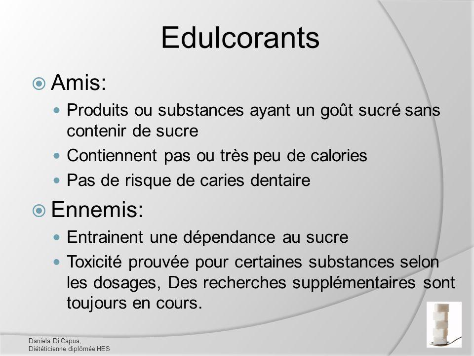 Edulcorants Amis: Produits ou substances ayant un goût sucré sans contenir de sucre Contiennent pas ou très peu de calories Pas de risque de caries de