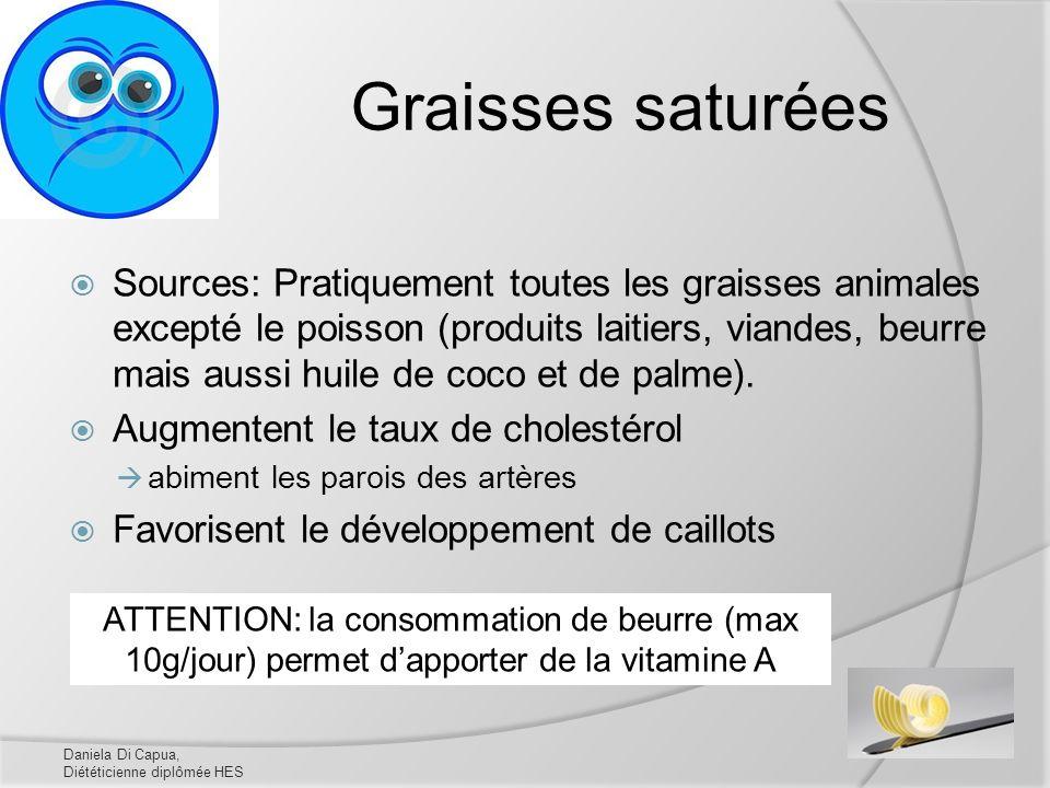 Graisses saturées Sources: Pratiquement toutes les graisses animales excepté le poisson (produits laitiers, viandes, beurre mais aussi huile de coco e