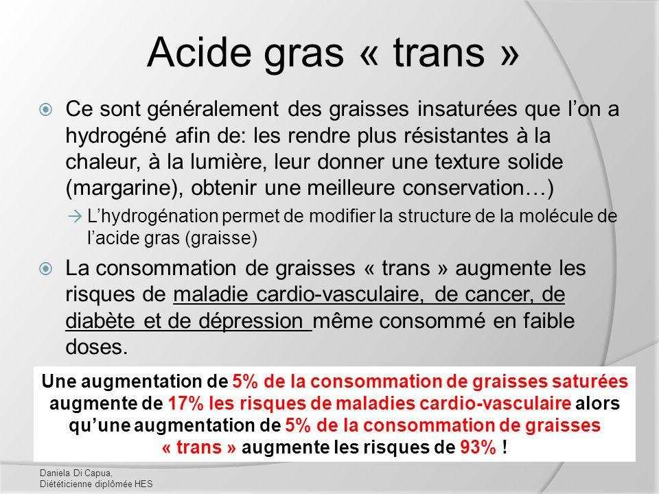 Acide gras « trans » Ce sont généralement des graisses insaturées que lon a hydrogéné afin de: les rendre plus résistantes à la chaleur, à la lumière,